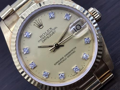ロレックス買取 デイトジャスト レディース 金無垢 10Pダイヤ 時計売るならやっぱりMARUKA