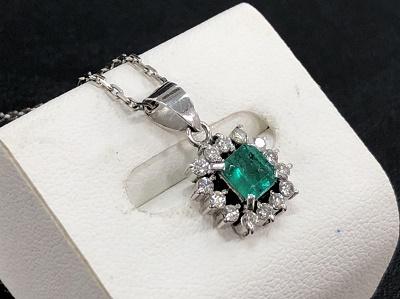 宝石買取 Pt850 0.50ct 0.20ct 5.0g エメラルド ダイヤモンド 神戸マルイ 買取