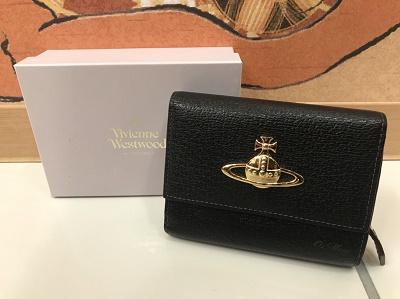 ヴィヴィアンウエストウッド買取二つ折り財布レザーブラック神戸元町三宮MARUKA