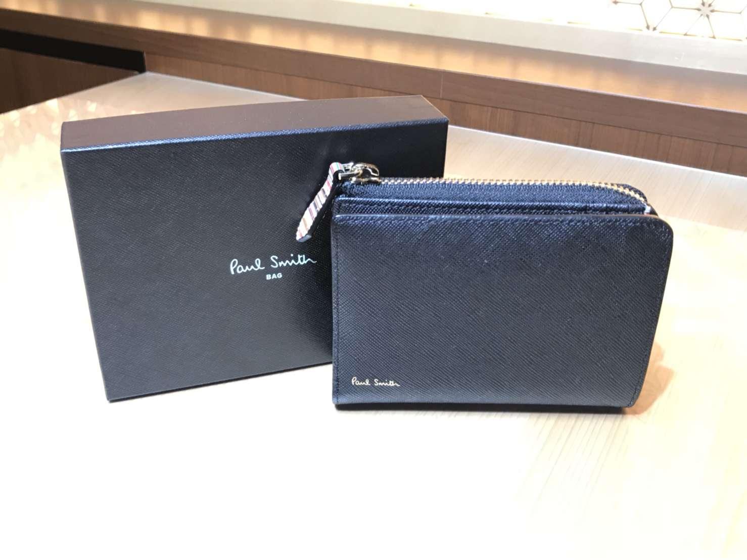 ポールスミス ジップストローグレイン 2つ折り財布 ブラック