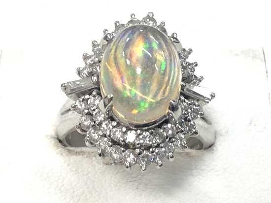 宝石買取 オパールプラチナダイヤ指輪