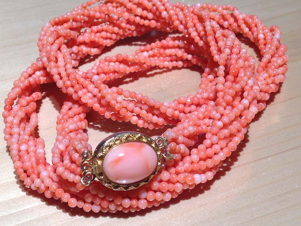珊瑚 サンゴ 桃色 ネックレス ペンダント GP 金具 メッキ