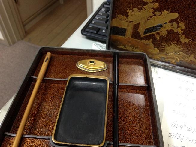 硯箱セット 蒔絵