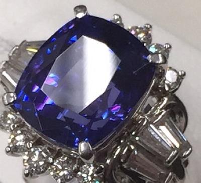 タンザナイト ダイヤ プラチナ  リング 3.2ct 1.67ct 京都 宝石 買取り