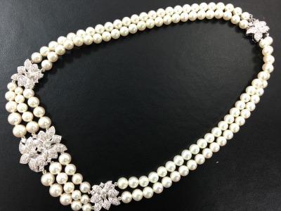 MIKIMOTO ミキモト ダイヤモンド パールネックレス K18