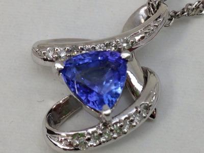 タンザナイト 1.69ct ダイヤモンド 0.14ct ペンダント PT850