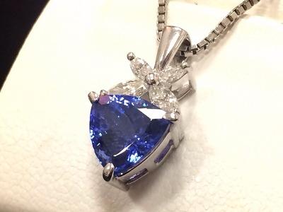 タンザナイトペンダント 2.60ct メレダイヤ 0.36ct プラチナ Pt850 ジュエリー 宝石
