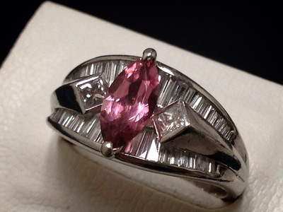 ピンクサファイアリング買取 1.59ct メレダイヤ 1.13ct プラチナ枠 Pt900 ジュエリー買取ならMARUKA