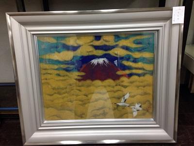 絵画 西山英雄 作  『 富士に飛ぶ 』