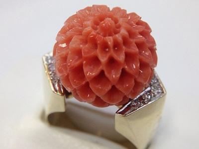 珊瑚 サンゴ 15,0mm メレ ダイヤモンド リング K14