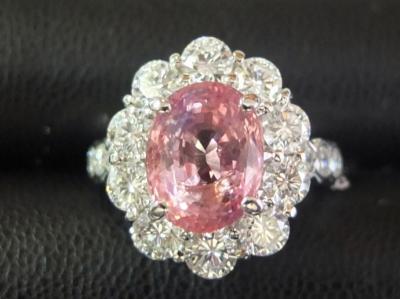 パパラチアサファイア リング 3.31ct ダイヤモンド 1.21ct プラチナ Pt900 ジュエリー 高価買取