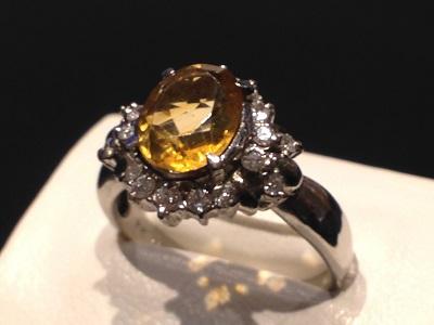 シトリン 1.25ct メレダイヤモンド 0.36ct リング Pt900 プラチナ 色石 宝石 ジュエリー 福岡 博多 天神 高価買取
