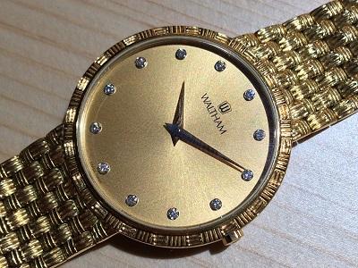 ウォルサム 腕時計 ダイヤモンド 750 金無垢 クォーツ シャンパン文字盤
