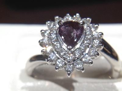 アレキサンドライト 0.49ct メレダイヤモンド 0.62ct リング Pt900 プラチナ 宝石 色石 ジュエリー 高価買取