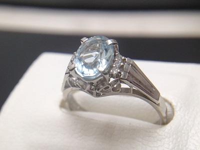 アクアマリン 1.05ct メレダイヤモンド 0.08ct リング Pt900 プラチナ ベリル 宝石 鉱物 高価買取 大宮店