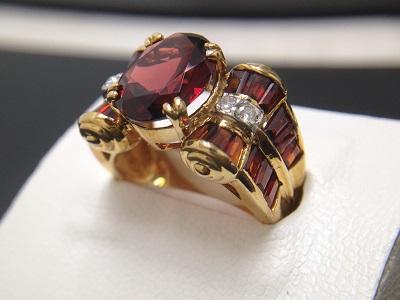 ガーネット 6.10ct メレダイヤモンド リング K18 YG イエローゴールド 宝石 鉱物 高価買取 大宮店