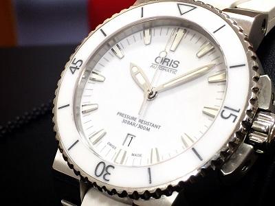 ORIS オリス アクイスデイト Ref.0173376534156 SS ステンレス ラバーベルト 白 美品 自動巻き 腕時計 高価買取 福岡 博多 天神