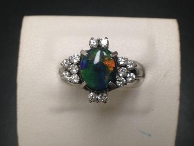 オパール 1.00ct メレダイヤモンド 0.45ct リング Pt900 プラチナ 宝石 色石 カラーストーン ジュエリー 高価買取 七条店