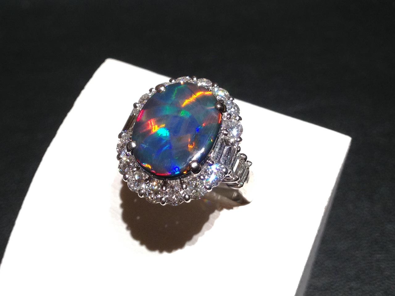 ブラックオパール 2.81ct ダイヤ1.54ct 宝石 高価買取