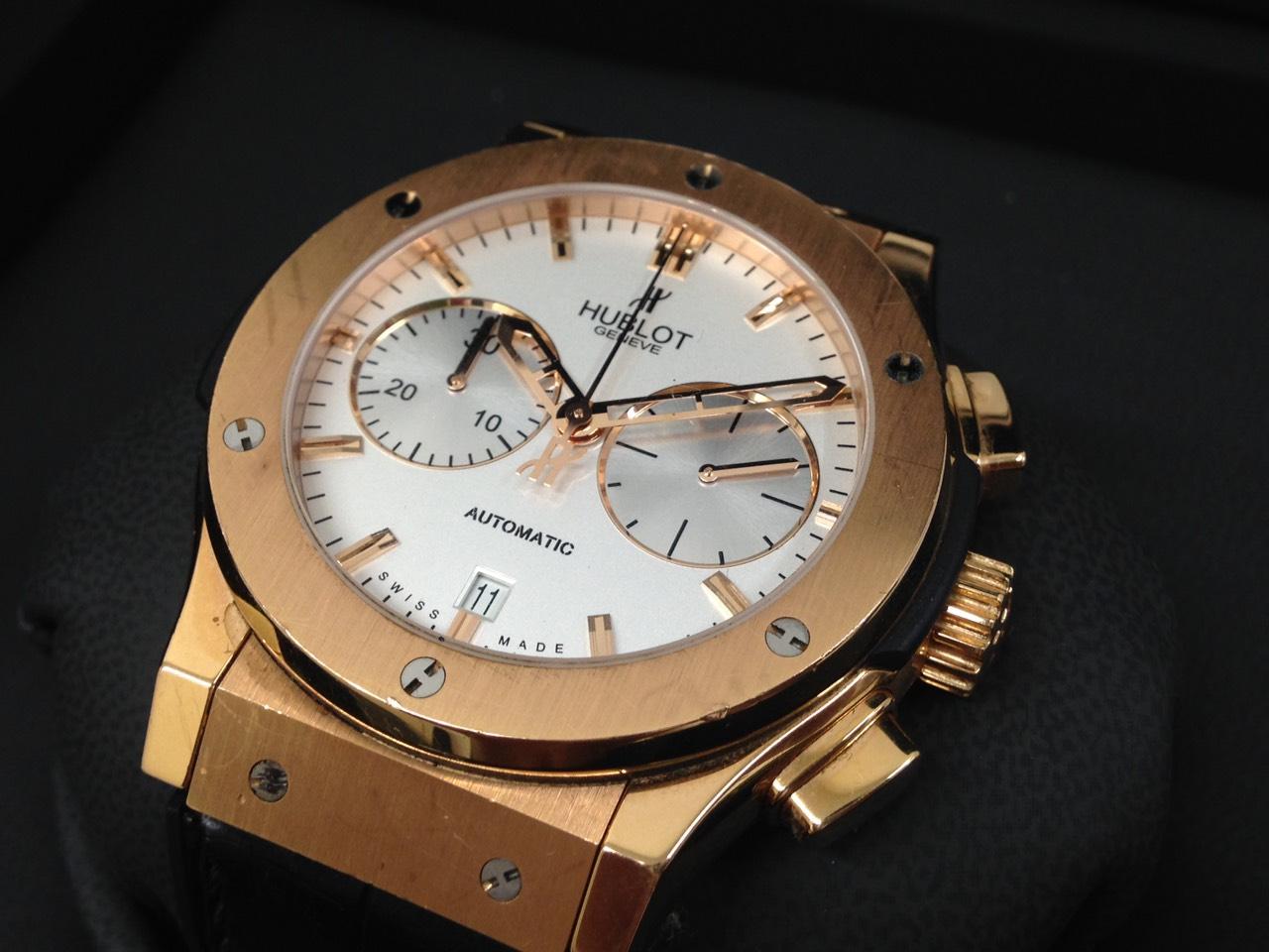 ウブロ HUBLOT クラシックフージョン クロノグラフ 18Kキングゴールド 白文字盤 高級腕時計 東京 銀座 高額買取