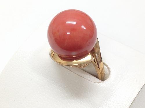 珊瑚 指輪 14.7mm 桃色 出張買取