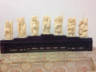 中国彫刻象牙の置物「七福神」